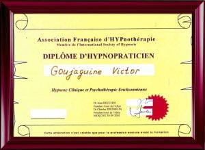 Свидетельство о членстве во французской ассоциации клинического гипноза. Москва 2001.