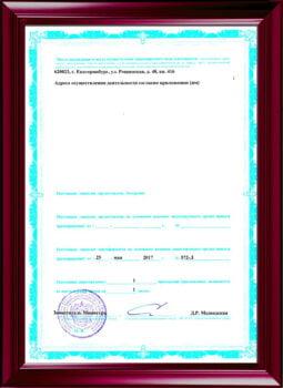 Бессрочная лицензия по психотерапии, приложение №1
